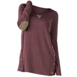 Plus Size Mock Button Elbow Patch T Shirt