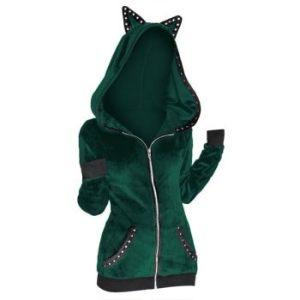Grommet Trim Zip Up Gothic Hooded Jacket