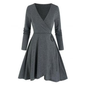 Long Sleeve Heathered Mini Wrap Dress