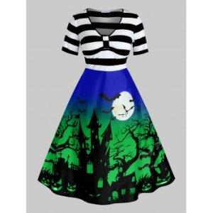 Plus Size Vintage Halloween Printed Pin Up Dress