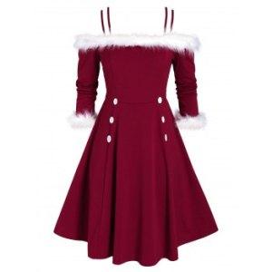 Plus Size Faux Fur Panel Open Shoulder Double Strap Dress