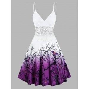 Halloween Tree Bats Print Lace Insert Cami Dress