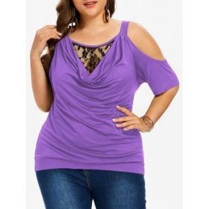 Plus Size Cold Shoulder Cowl Neck T-shirt