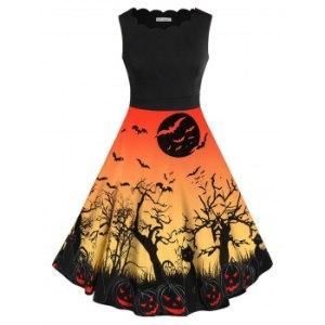 Plus Size Bat Pumpkin Print Halloween Vintage Dress