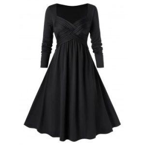 Plus Size Crossover Midi Flare Dress