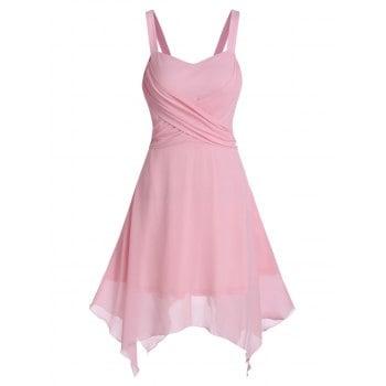Solid Crisscross Asymmetrical Chiffon Dress