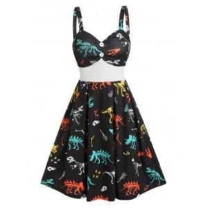 Dinosaur Skeleton Print Empire Waist Mini Cami Dress