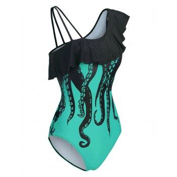 Octopus Print Flounce Skew Neck One-piece Swimwear