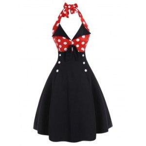 Polka Dot Halter Button Embellished Backless Dress