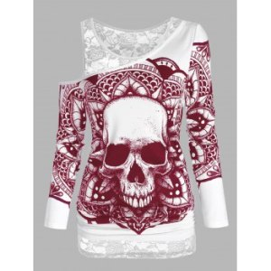 Skull Graphic Sheer Lace Open Shoulder Two Piece T Shirt Sets