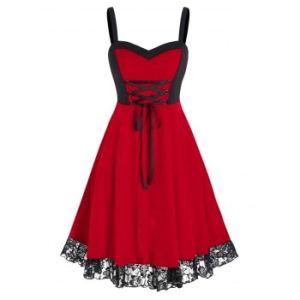 Plus Size Velvet Lace-up Bicolor Two Tone Dress