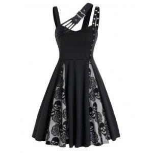 Halloween Skull Flower Lace Insert Sleeveless Dress