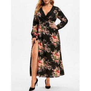 Plus Size Lace Crochet Floral Print High Slit Dress