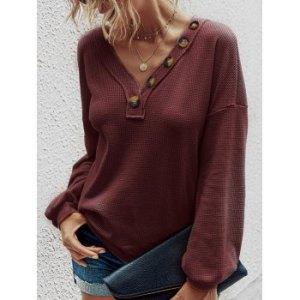Textured Buttoned Knitwear