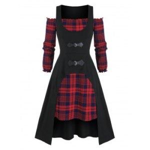 Plus Size Plaid Off Shoulder Dress and Long Tank Top Set
