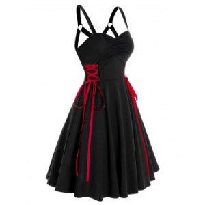 Sleeveless Lace-up Side Flare Dress