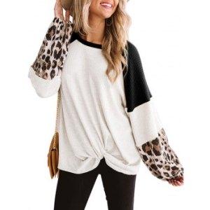 Raglan Sleeve Leopard Panel Twisted Hem Knitwear