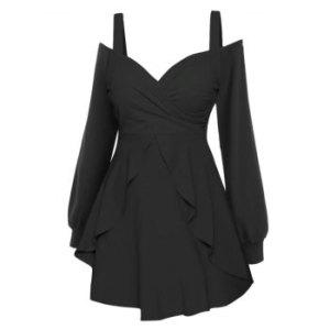 Long Sleeve Cold Shoulder Overlay Dress