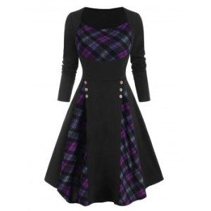 Plaid Insert Mock Button Long Sleeve Dress