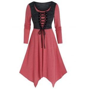 Lace Up Faux Twinset High Waist Asymmetric Dress
