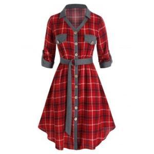 Plus Size Plaid Flap Detail Roll Up Sleeve Dress