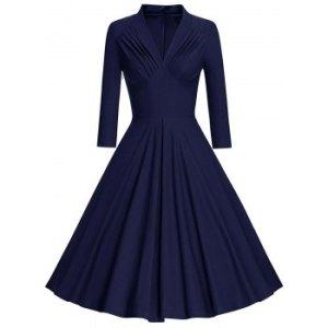 Plus Size Empire Waist Pleated Long Sleeve Dress