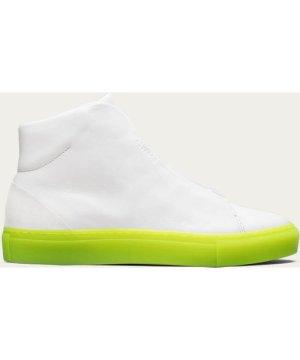 White Leather w/ Yellow Minimal High