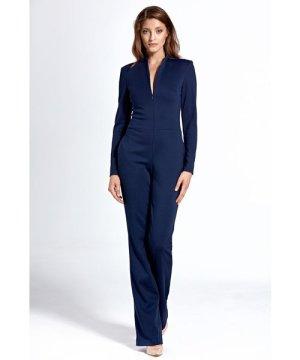 Nife Navy jumpsuit with zip at neckline