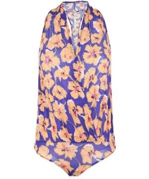 Free People Purple Floral Design Bodysuit