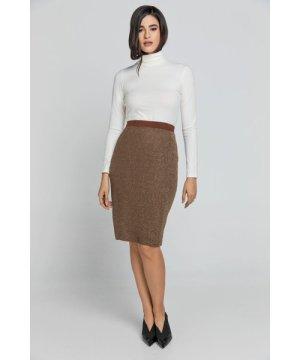 Conquista Brown Lurex Pencil skirt