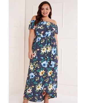 Mela London Curve Polka Dot Floral Bardot Maxi Dress