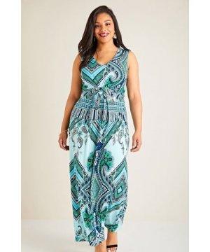 Yumi Curves Paisley Scarf Print Maxi Dress