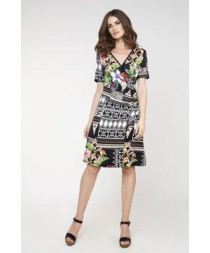 Conquista Print Wrapover Dress