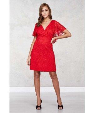 Mela London Red Floral Lace Front Wrap Dress