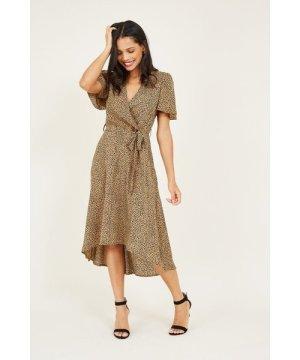 Mela London Leopard Printed Dipped Hem Maxi Dress
