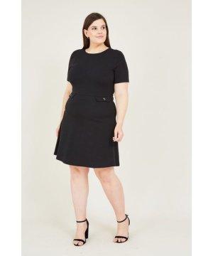 Mela London Curve Black Skater Dress With Pocket Detail