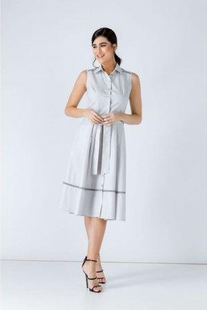 Conquista Grey Button Detail Dress
