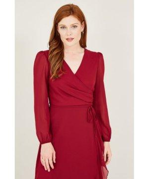 Mela London Yumi Dipped Hem Wrap Effectct Maxi Dresss