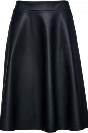 Conquista Black Faux Leather Cloche Skirt