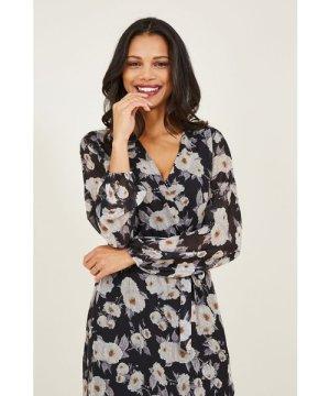 Mela London Yumi Floral Printed Asymmetric Wrap Front Dress