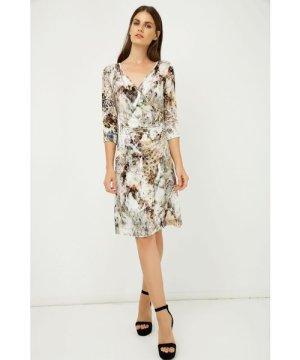 Conquista Print Jersey Faux Wrap Dress in Beige