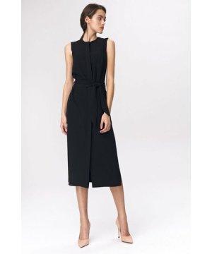 Nife Black dress in shirt style