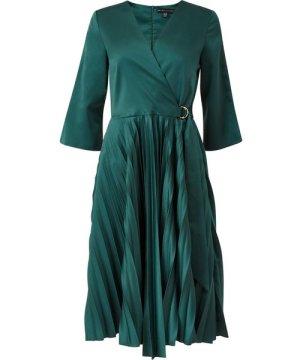 Mela London Yumi Wrap Front Pleated Skirt Midi Dresss