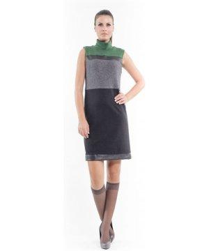 Conquista Faux Leather Detail Dress