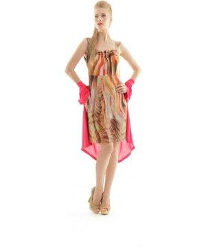 Conquista Ruched Print Dress