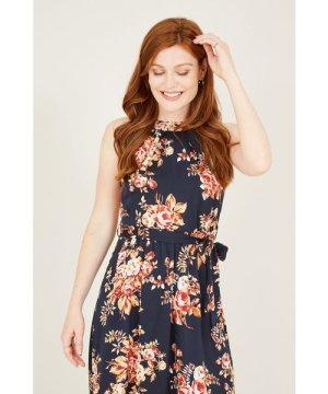 Mela London Yumi Autumn Flower Satin High Neck Maxi Dresss