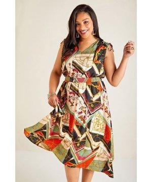 Yumi Curves Multi Plus Size Patchwork Chain Print Dress