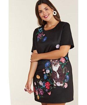 Yumi Curves Black Plus Size Cat Placement Tunic
