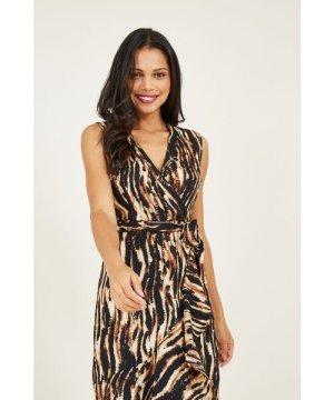 Mela London Yumi Animal Printed Wrap Front Midi Dresss