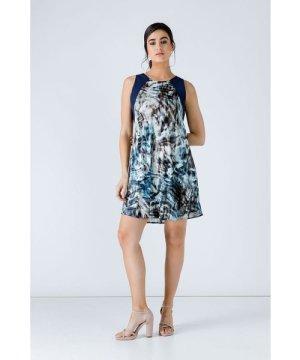 Conquista Navy Blue Sleeveless Print Dress